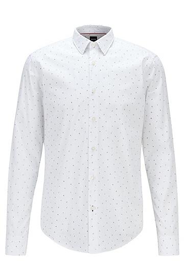 微型印花棉质帆布修身衬衫,  100_白色