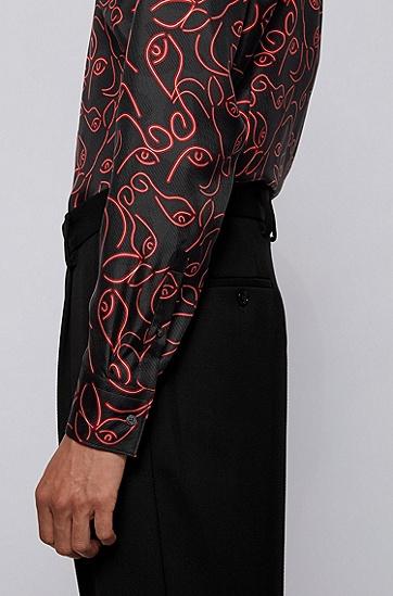 牛头印花意大利真丝修身衬衫,  620_亮红色