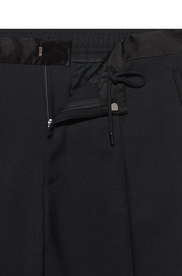 真丝饰边直筒西裤,  001_黑色