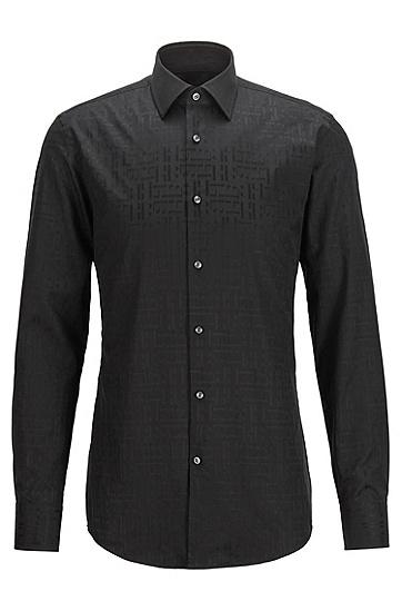 提花交织字母图案意大利棉质修身衬衫,  001_黑色