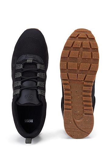 针织鞋面徽标装饰系带运动鞋,  001_黑色