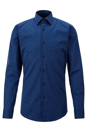 字母图案印花弹力棉修身衬衫,  463_淡蓝色