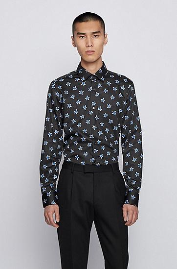 星星图案棉质缎面修身衬衫,  001_黑色