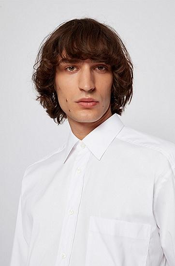 棉质混纺宽松版衬衫,  100_白色