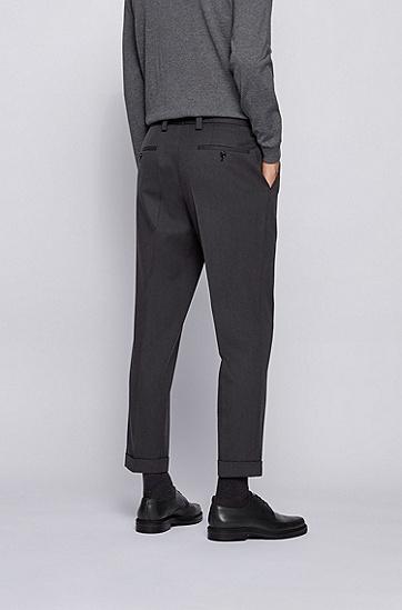 微图案棉质混纺超大款长裤,  061_淡灰色
