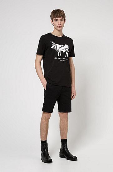 牛年艺术图案棉质 T 恤,  001_黑色