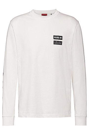 机车艺术风装饰长袖棉 T 恤,  104_天然色