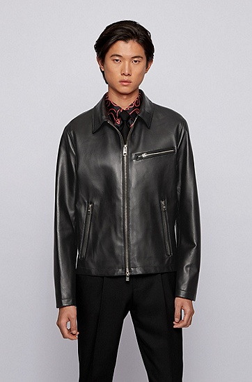 常规版型翼领纳帕革夹克,  001_黑色