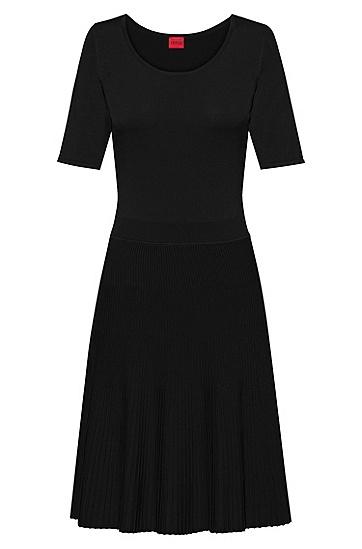 褶裥裙摆沙漏式针织连衣裙,  001_黑色
