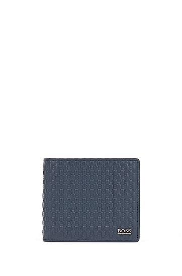 交织字母压花图案意大利皮革折叠钱包,  410_海军蓝色