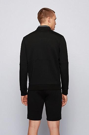 拼色徽标刺绣常规版型运动衫,  001_黑色