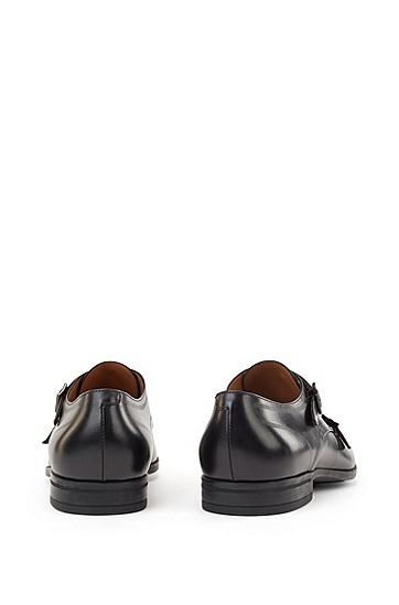小牛皮缝线僧侣鞋,  001_黑色