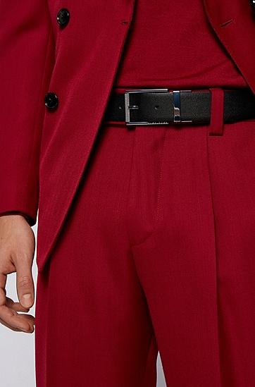 刻印带扣意大利皮革双面腰带,  001_黑色