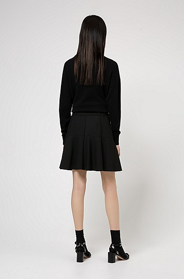 弹力面料蓬蓬迷你裙,  001_黑色