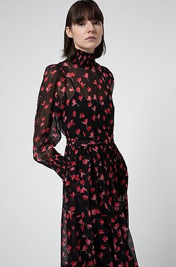 樱花印花真丝雪纺迷笛连衣裙,  965_多色