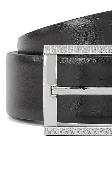 牛皮剖层革闪亮银色扣商务皮带,  002_黑色
