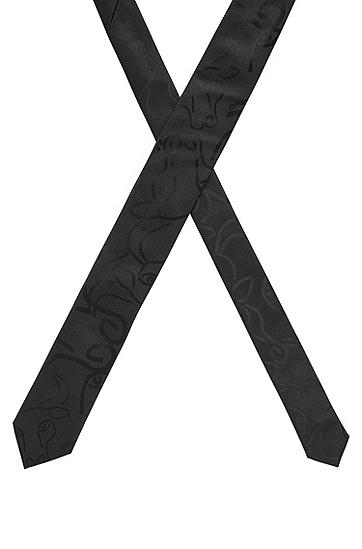 牛头图案真丝领带,  001_黑色