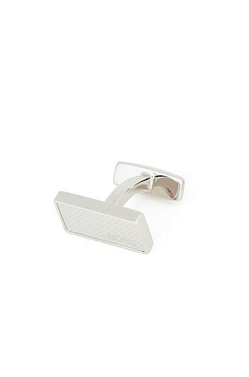 蚀刻图案长方形金属袖扣,  040_银灰色