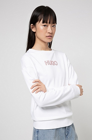 3D 徽标装饰有机棉法式毛圈布运动衫,  614_中红色