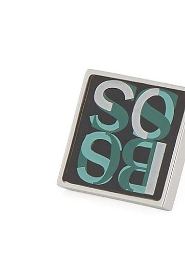 彩色徽标方形袖扣,  355_淡绿色