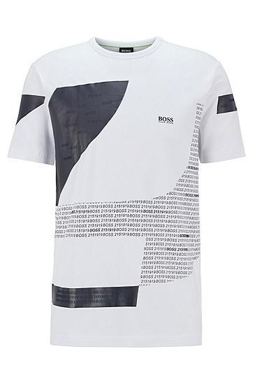 数字艺术图案弹力棉拼色 T 恤,  100_白色