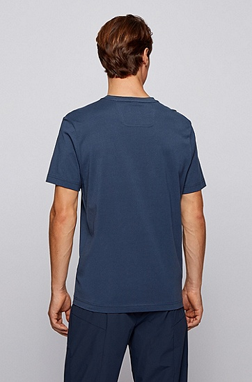 图形艺术风装饰纯棉圆领 T 恤,  410_海军蓝色