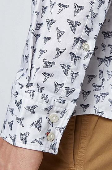 常规版型印花弹力棉衬衫,  101_Natural
