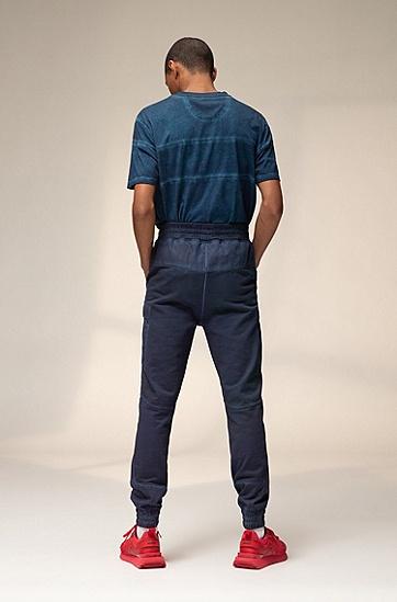 森林风情徽标图案棉质中性 T 恤,  401_暗蓝色