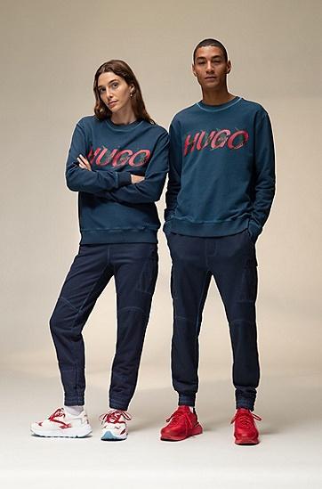 森林风情徽标图案棉质中性运动衫,  401_暗蓝色