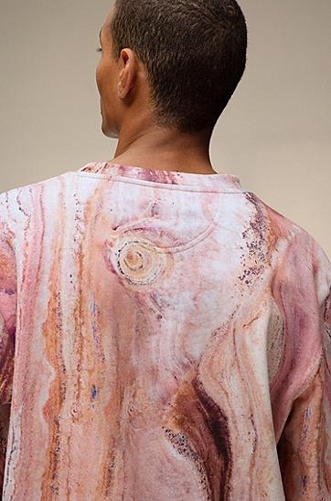 大理石印花法式毛圈棉布中性运动衫,  960_多色