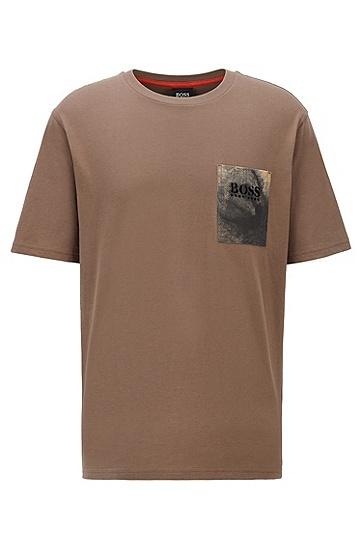 徽标印花口袋棉质平纹单面针织布宽松版 T 恤,  250_米色