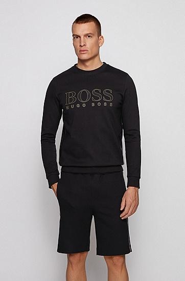 棉毛混纺面料徽标印花修身运动衫,  001_黑色