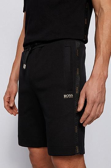 金色徽标细节棉混纺短裤,  001_黑色