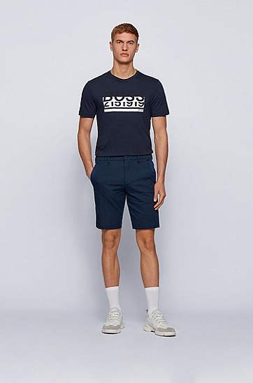 压印徽标艺术风装饰棉质 T 恤,  410_海军蓝色