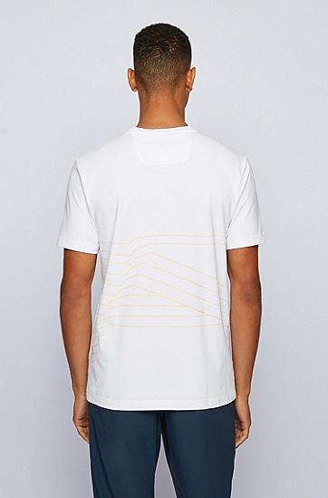图片印花有机棉弹力平纹针织面料 T 恤,  100_白色