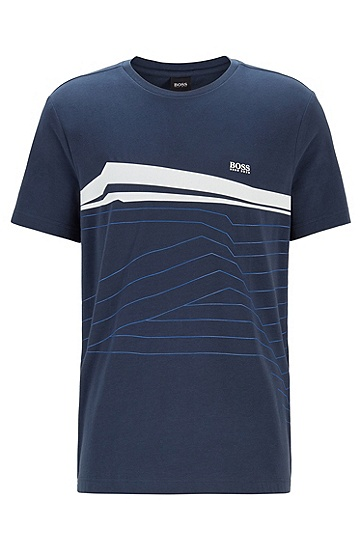 图片印花弹力平纹针织面料 T 恤,  410_海军蓝色
