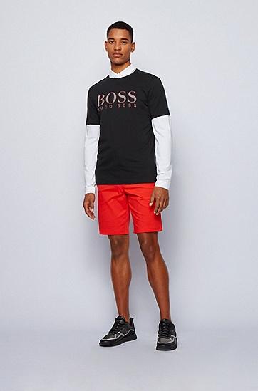 彩色徽标图案常规版棉质平纹单面针织布 T 恤,  001_黑色