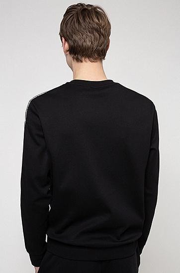 饰有胎印徽标的法国棉质毛圈布运动衫,  001_黑色