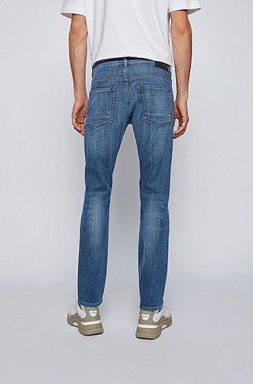 中蓝色弹性修身牛仔裤,  420_中蓝色