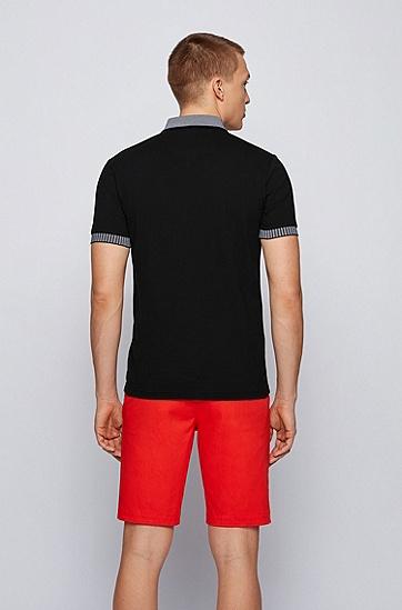 胸前徽标弹力棉 Polo 衫,  001_黑色