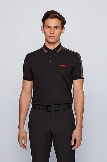 条纹衣领弹力珠地布修身 Polo 衫,  001_黑色