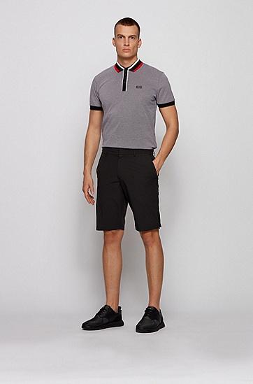 条纹衣领棉质珠地布 Polo 衫,  002_黑色