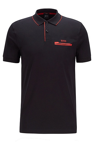 撞色细节装饰 Air Cool 弹力棉 Polo 衫,  001_黑色