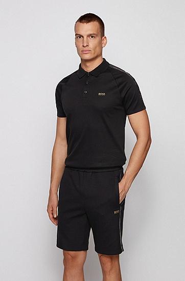 金色徽标修身 Polo 衫,  001_黑色