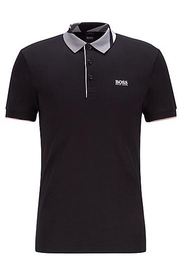 衣领饰有图案印花的修身棉质 Polo 衫,  001_黑色