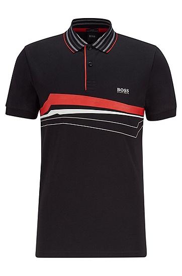 S.Café® 胸前印花修身 Polo 衫,  001_黑色