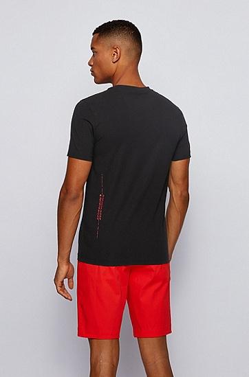 饰有哑光和光泽艺术图案的弹力棉 T 恤,  001_黑色