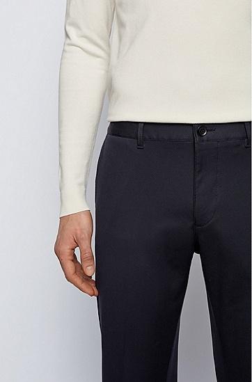 常规版弹力棉提花休闲裤,  402_暗蓝色