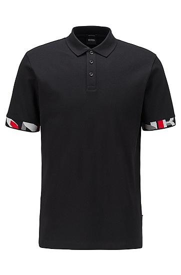 图案装饰袖口常规版型 Polo 衫,  001_黑色