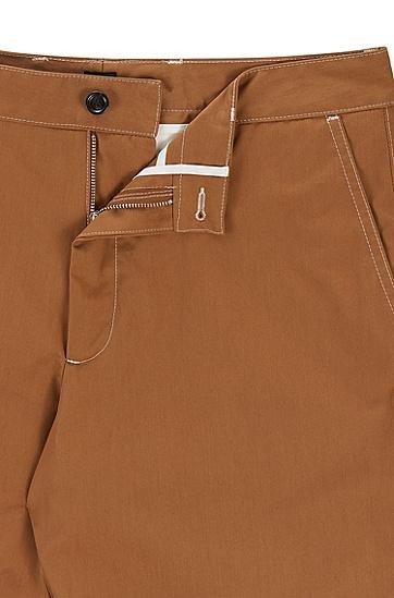 常规版纸感棉质府绸短裤,  268_中米色